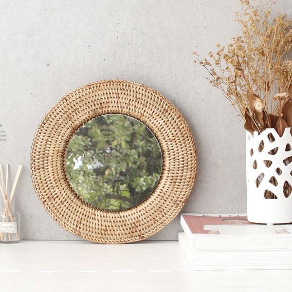 [2HOT] 라탄 벽걸이 거울 원형 2호