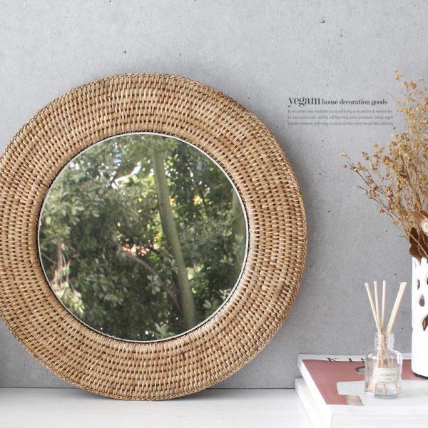 [2HOT] 라탄 벽걸이 거울 원형 4호