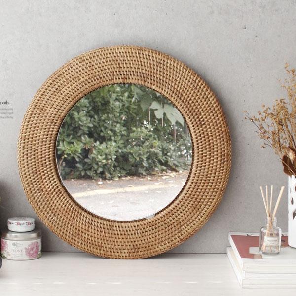 [2HOT] 라탄 벽걸이 거울 원형 5호
