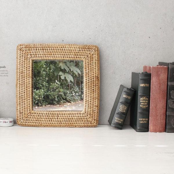 [2HOT] 라탄 벽걸이 거울 사각 소