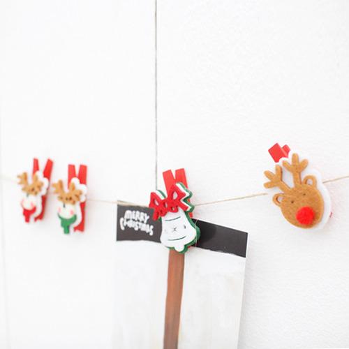 [자연과 사람] 크리스마스 부직포 집게 3P