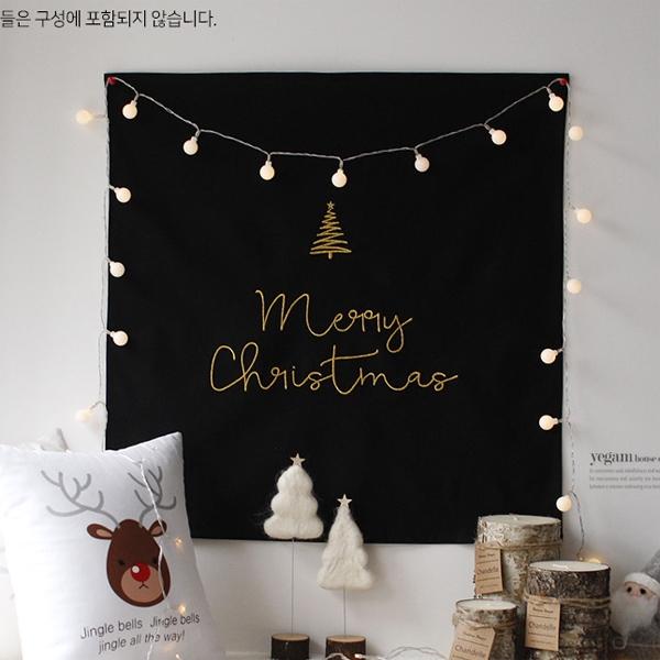 [2HOT] 크리스마스 자수 패브릭 포스터 가리개 63x63