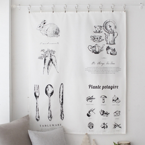 [2HOT] 드로잉 키친 패브릭 포스터 가리개 80x100