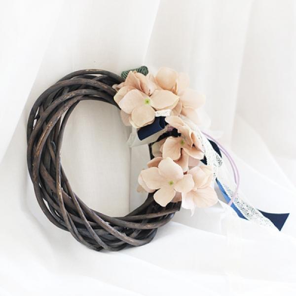 [콩지] 핑크 수국 버드나무 리스